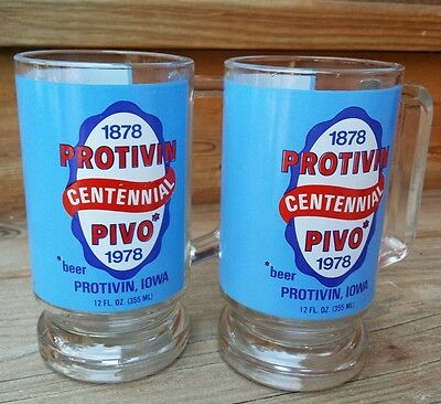 Protovin Iowa PIVO Beer Centennial Glass Mug 1878 1978  Set Vintage Brewery Cups