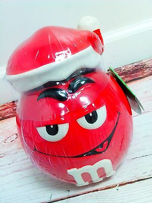New M&M's RED CERAMIC CANDY JAR WITH SANTA HAT Christmas Holiday