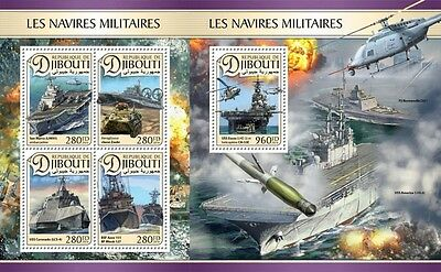 Z08 IMPERFORATED DJB16603ab DJIBOUTI 2016 Military ships Helicopters MNH Post