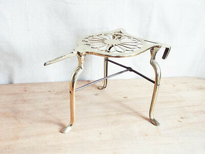 Antique English Victorian Brass Fireplace Trivet England Footed Hearth Stand