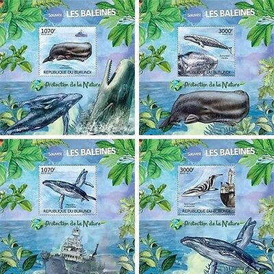 Z08 Imperforated BURdelux36 BURUNDI 2012 Whales 4 x s/s MNH