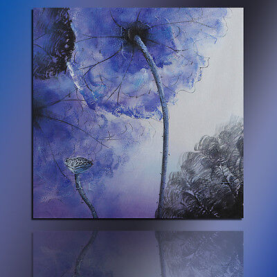 Modern Oil Painting Abstract Blue Lotus Flower Canvas Art On Wall Decor Framed