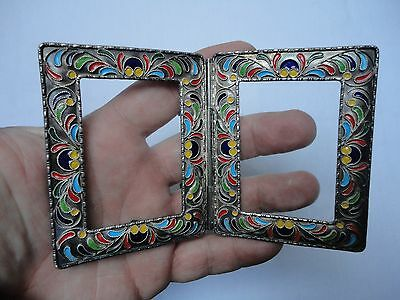 Small Antique Russian Silver & Cloisonne Enamel Miniature Picture Frame (SIGNED)