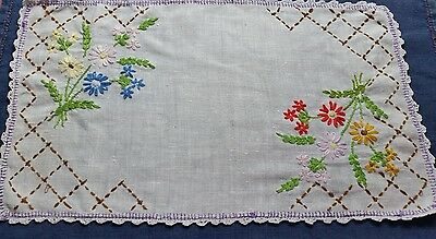 Vintage Hand Embroidered Doily - Gorgeous!