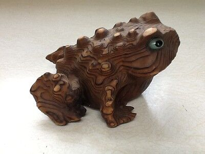 """Vintage Japanese Hand Carved Wood Cryptomeria Bumpy """"horny Toad"""""""