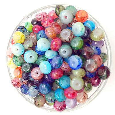 NEW 50PCS 6mm Glass Oblate Pearl Spacer Loose Beads Pattern Jewelry Making 40