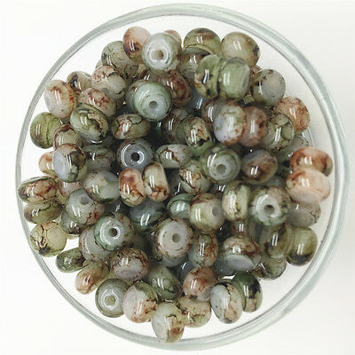 NEW 50PCS 6mm Glass Oblate Pearl Spacer Loose Beads Pattern Jewelry Making 11