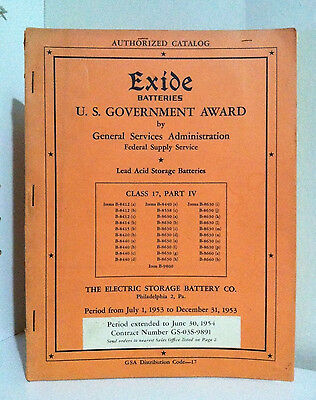 Exide Baterries- U.S. Government Award. Catalog. Vintage 1953