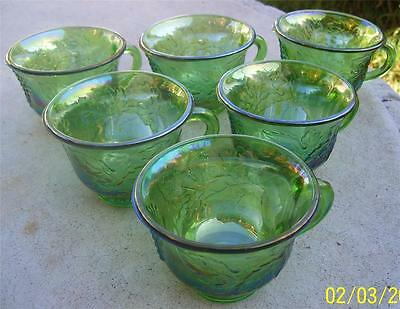 6 X Beautiful Vintage Indiana Glass Green Carnival Glass Harvest Cups
