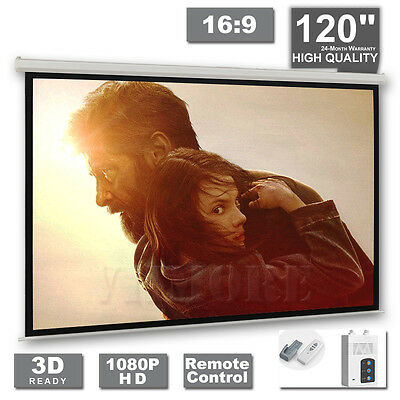 """120"""" Electric Motorised Projector Screen Projection 16:9 Pure Home Theatre 3D TV"""