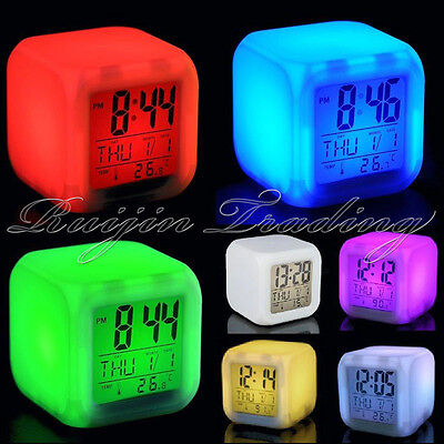 New Digital Battery Alarm Clock with LCD Display 7 Colour Calendar Snooze UK