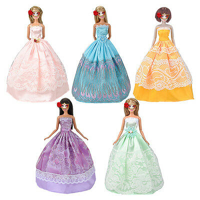 5pcs Princess Dresses Outfits Party Wedding Clothes Gown For Barbie Doll Random