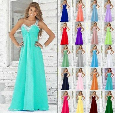 Long Chiffon Lace Evening Formal Party Prom Ball Gown Bridesmaid Dress Size 6-18