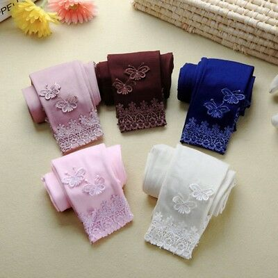 Lovely Kids Girl Butterfly Lace Pattern Warm Stretchy Trousers Tights Pants 2-7Y