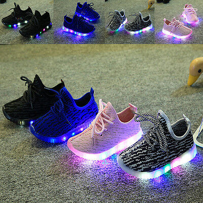 Flash LED Children Toddler Kids Light Up Trainers Lace Up Shoes Disco Luminous