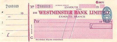 Westminster Bank Limited,  Exmouth Branch - Unused Old Cheque with Stub.