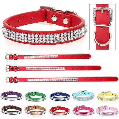 Pet Collars Dog Puppy Cat PU Leather Tag Crystal Diamond Bling Adjustable Neck