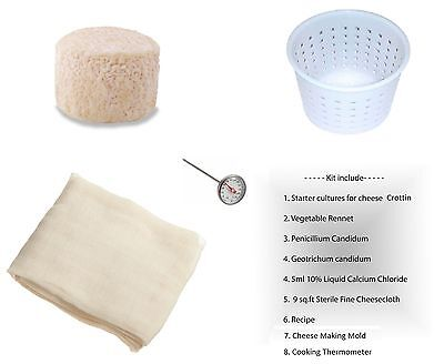 Crottin Soft Cheese Full Making Kit Mold Thermometer Calcium Chloride Rennet