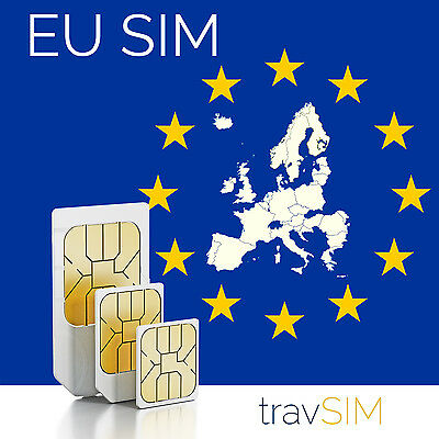 Europe Sim Card +1GB Data 200call/text minutes for 32EU Countries European Union