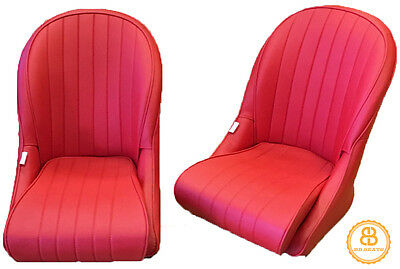 Pair BB Vintage Classic Car Seats Low Rounded Back RED + Universal Runners