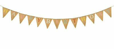 KRAFTZ® 3m HAPPY BIRTHDAY Jute Triangular Flag Bunting Party Birthday Garland