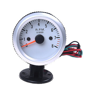 "Tachometer Tach Gauge with Holder Cup for Auto Car 2"" 52mm 0~8000RPM Blue C7X8"
