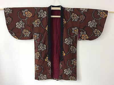 Authentic Japanese hanten jacket, housecoat , brown-flowers, S (F1175)