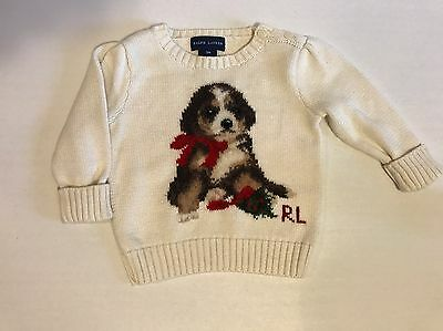 Ralph Lauren Baby Girl Infant Puppy Dog Pullover Sweater Size 9 Months