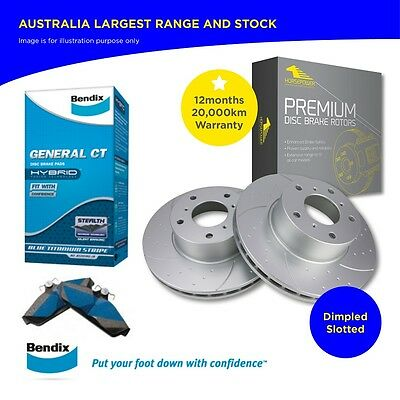 Premium Dimpled Slotted Front Rotors+Bendix Brake Pads COMMODORE VT VX VY VZ
