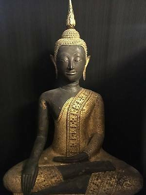 Large Antique Bronze Gilt Buddha sitting Rattanakosin 18C Thai Amulets Statues