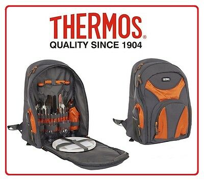 ❤ Thermos 4 Person BACKPACK Insulated Cooler Picnic Cutlery Cooler Camping Set ❤