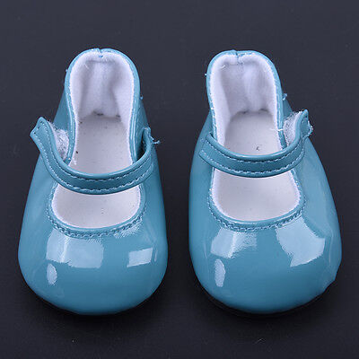 Handmade Blue Leather Boots Shoes for 18inch Doll Party Kids Toy