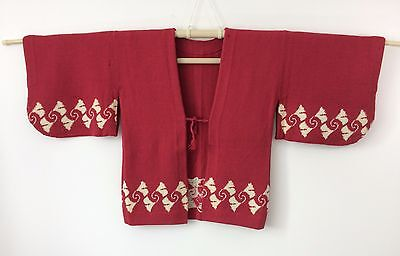 Authentic Japanese red/pink haori jacket, cardigan, poor condition (I1177)