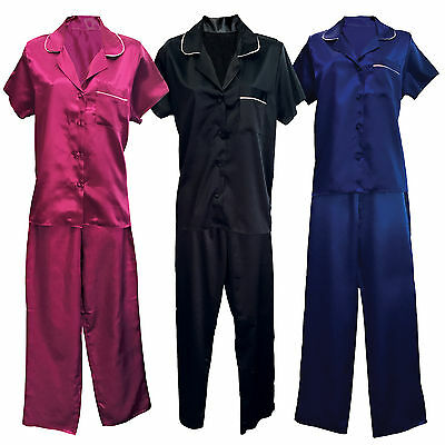 Ladies Womens Short Sleeve Satin Night Top Shirt and Trouser Bottoms Pyjama Set