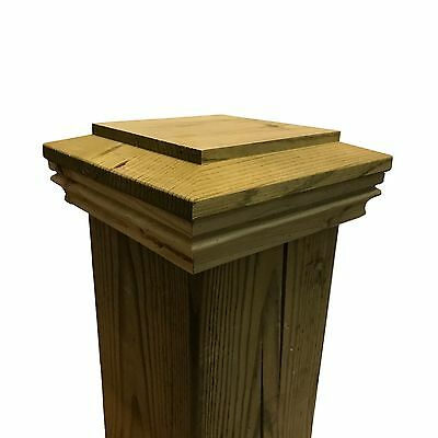 "Pressure Treated Plateau Wood Post Cap for 5.5"" x 5.5"" Fence and Deck Posts"