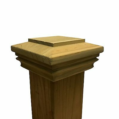 "Pressure Treated Plateau Wood Post Cap for 3.5"" x 3.5"" Fence and Deck Posts"