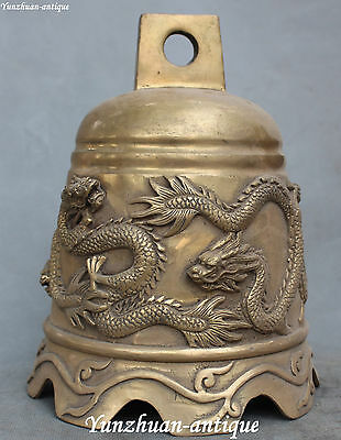"""9"""" Collection Old Chinese Bronze Bddhism Temple Dragon Dragons Bell Clock Statue"""