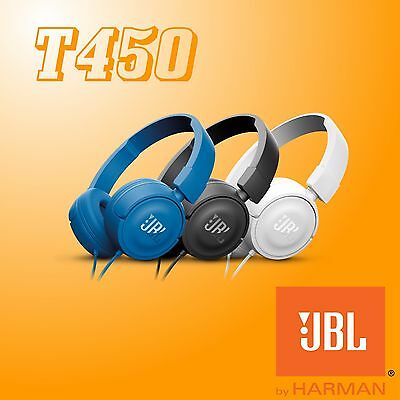 JBL by Harman T450 Wired Stereo Headphones Over-ear Pure Bass Sound Foldable New