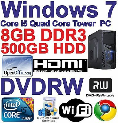 A Windows 7 Core i5 Quad Core HDMI Gaming Tower PC - 8GB DDR3 - 500GB HDD DVDRW