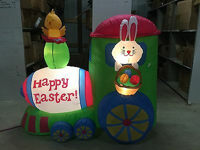 6ft Gemmy Airblown Inflatable Easter Bunny In Train Prototype