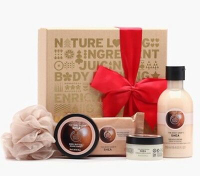 The Body Shop Gift Set SHEA Shower Gel Soap Body Butter & Scrub NEW *FAST POST*