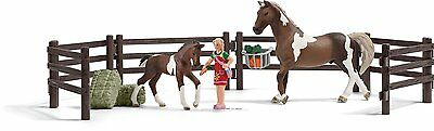 Schleich 21049 Paddock Set Stallion and Foal Fence Feed Model Toy Horse - NIP
