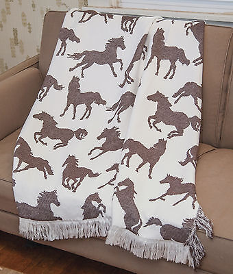 """run Wild, Run Free"" Wild Horses Throw Blanket - 48"" X 60"" - Horse Throw"
