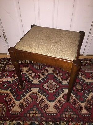 VINTAGE Mid Century Singer Wood Sewing Stool Foot Stool Ottoman Danish Style
