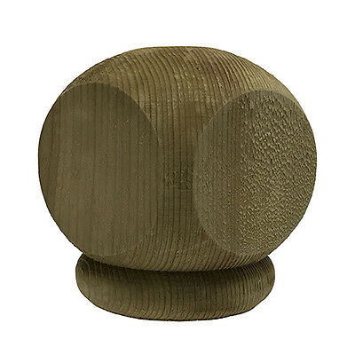 Pressure Treated Wood Squared Ball Top Finial For Fence and Deck Posts - Green