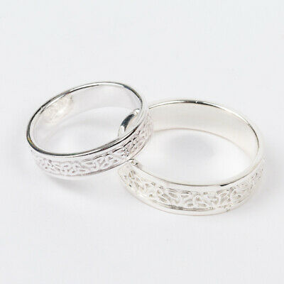 Irish Celtic Trinity Knot His & Her Wedding Band Set. Solid 925 Sterling Silver