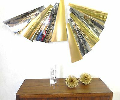 Famous C. Jere Huge Pleated Chrome Brass Sculpture 5' Long Signed Rare
