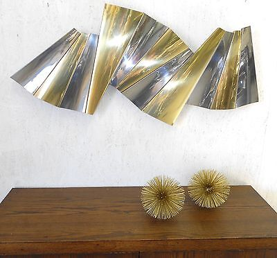"""Famous C. Jere Huge Pleated Chrome Brass Sculpture 46"""" Long Signed Rare"""