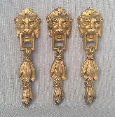 3 antique furniture ornaments lot made of ormolu France lions signed empire