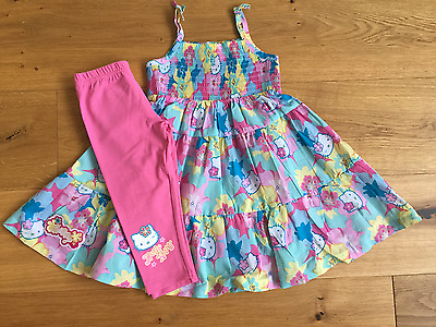 Girls NEW MARKS & SPENCER HELLO KITTY TUNIC TOP DRESS LEGGINGS SET 18-24 3-4 Yrs